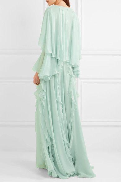 cfaf6980bf Giambattista Valli - Cape-back ruffled silk-georgette gown | Clothes ...