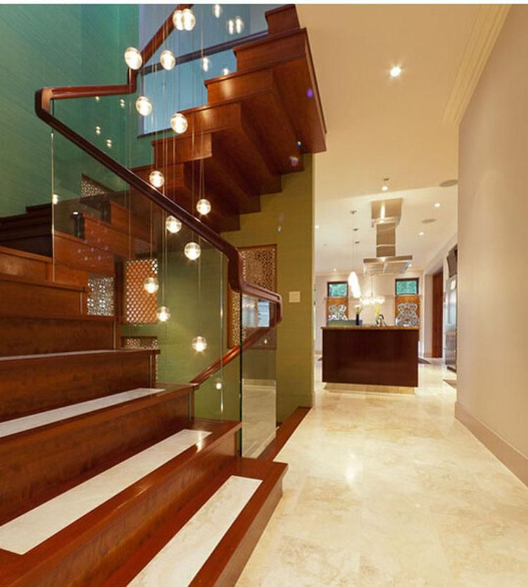 33 Staircase Designs Enriching Modern Interiors With: Phube Lighting LED Meteor Shower Crystal Chandelier Light