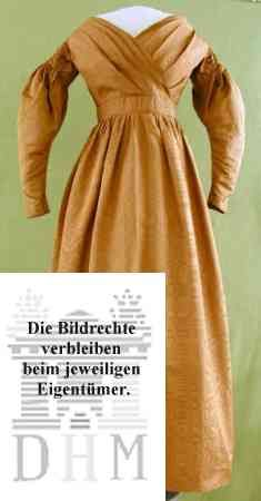 Silk dress, dated c. 1836. Deutsches Historisches Museum: either 99006495 or KT 99/350 (I can't tell which). Site in German.