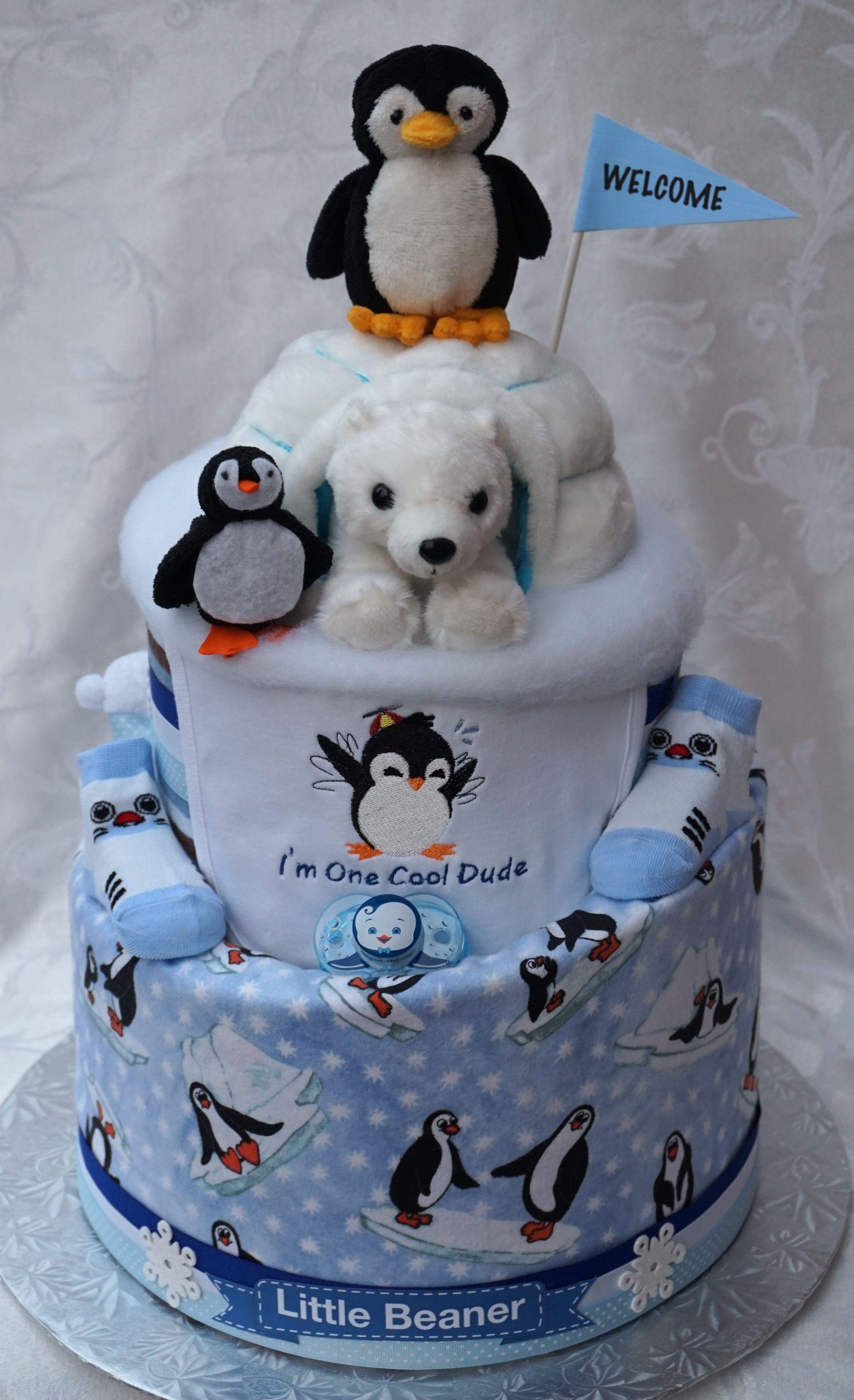 Penguin Polar Bear Themed Diaper Cake Facebook