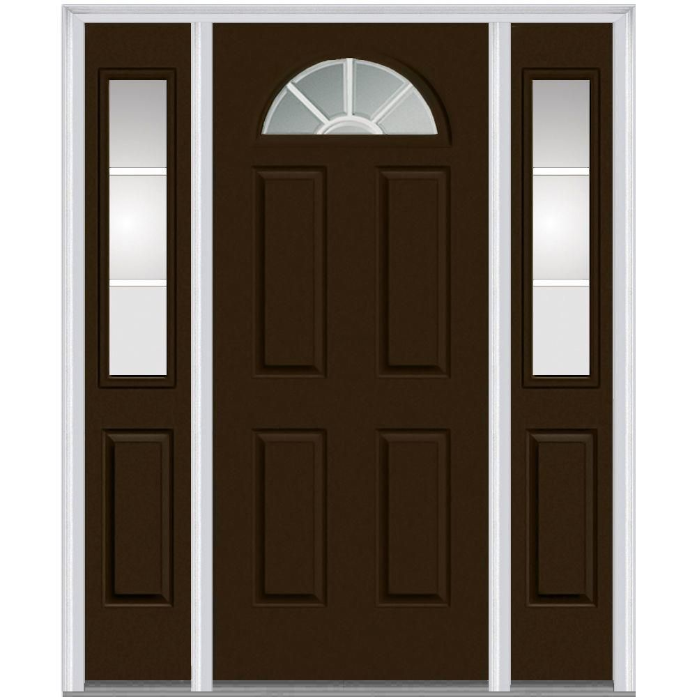 Mmi Door 60 In X 80 Internal Grilles Left Hand 1 4 Lite Clear Painted Fiberglass Smooth Prehung Front With Sidelites Z005357l The Home Depot