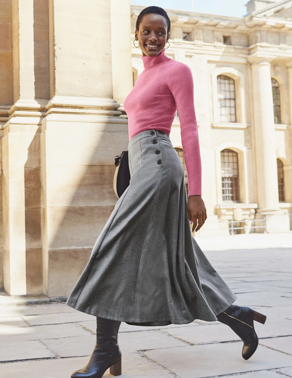 Esme British Tweed Midi Skirt - Grey Melange #mittellangeröcke Esme British Tweed Midi Skirt - Grey Melange #mittellangeröcke