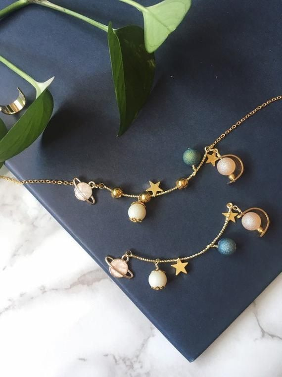 Astronomy Necklace,  solar system, universe theme galaxy space planet necklace set , kawaii c... As
