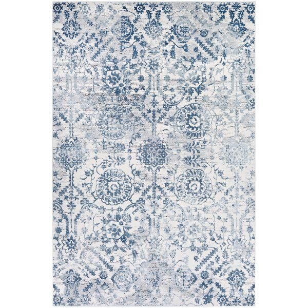 Emily Steel Blue Area Rug In 2019 Rugs Floral Rug Area