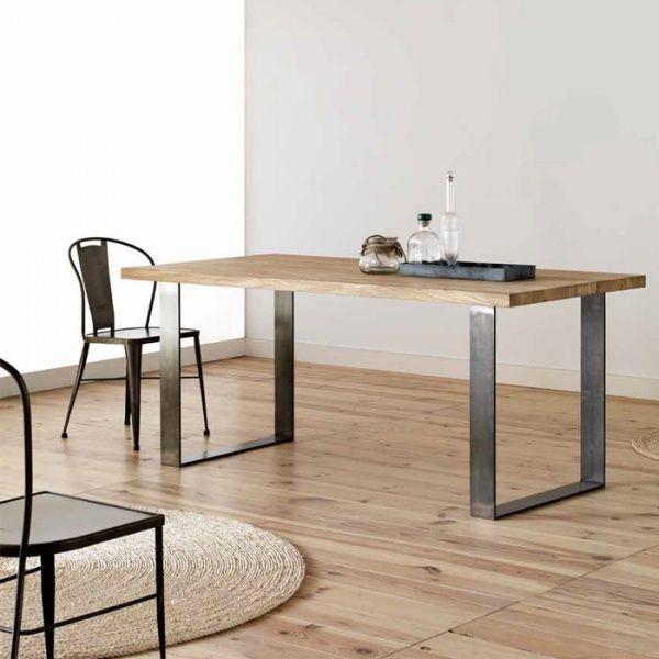 table moderne plateau bois chene