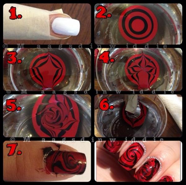Red Rose Water Marble Nails Rose Nails Nail Art Tutorial Nail Tutorials