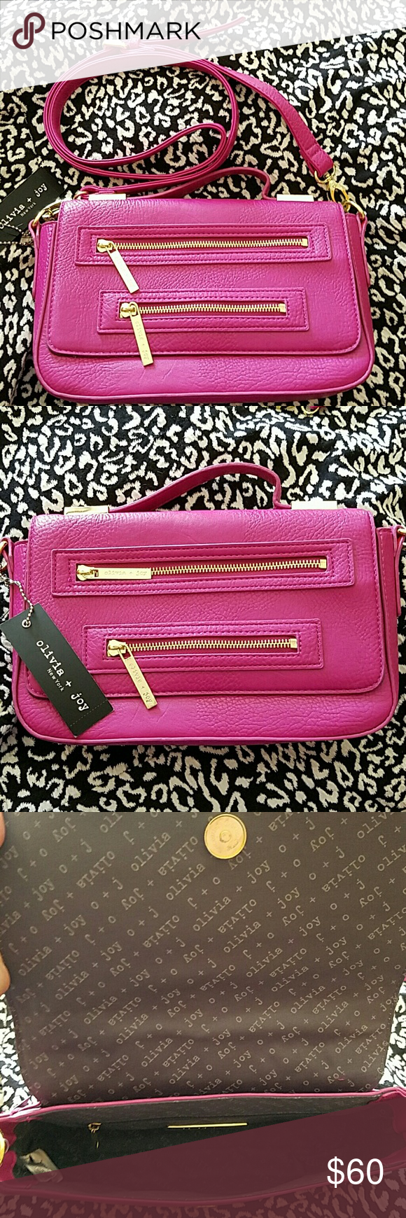 BNWT!! Gorgeous Olivia + Joy Purse Magenta colored cutie with gold zippers and detailing. Comes with a long strap to concert into a crossbody.  10 ? 6 1/2 strap is approx 48 in long. Olivia + Joy Bags Crossbody Bags