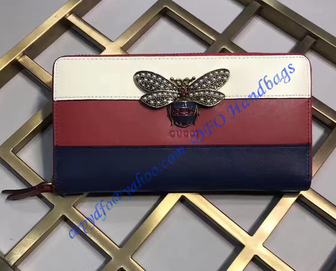 39dd74afd22 Gucci Queen Margaret White Red Blue Leather Zip Around Wallet