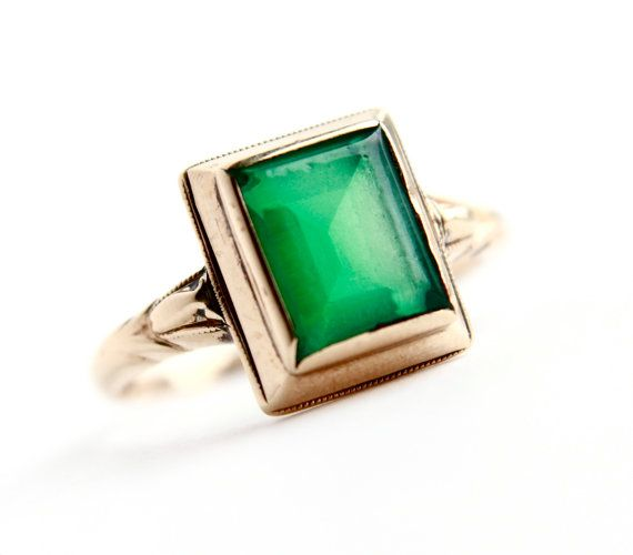 Antique 10k Gold Art Deco Ring Size 5 1 2 1920s 1930s Emerald