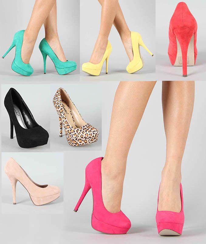 New Stilettos Round Toe Heels Dressy Suede Pumps Pink Aqua Yellow Angie 41 5 11 Ebay