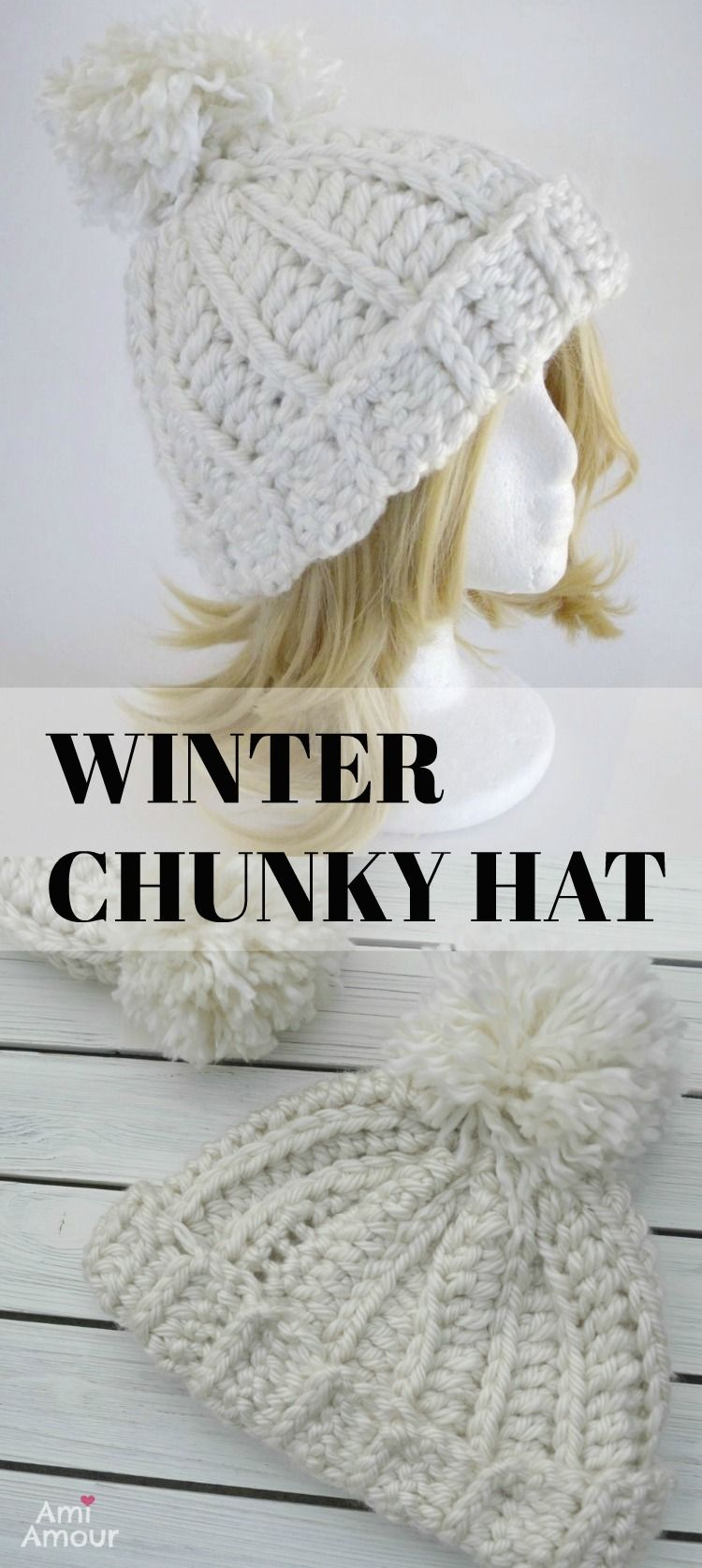 Crochet Hat Free Pattern - Winter Chunky Yarn. Video Tutorial also ...