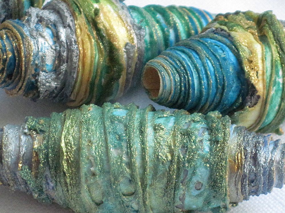 RESERVED 10 mixed media textile art fiber beads hand made with Tyvek - OCEAN & SILVER - aqua green turquoise blue yellow gold and silver