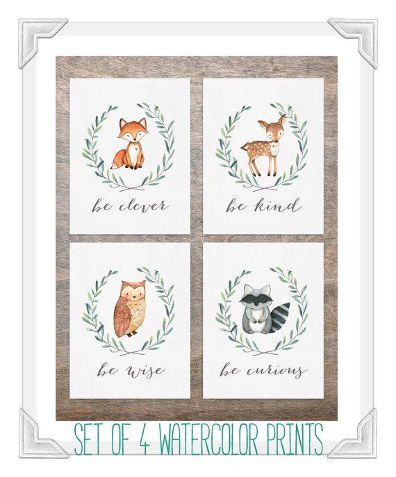 Woodland Nursery Decor Set Of 4 Animal Prints Fox Deer Owl Raccon By Emmaandtan