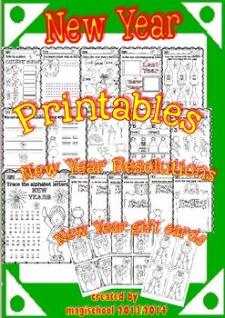 New Year Maths and ELA funny worksheets (pre-K/1st grade) | Gracioso ...