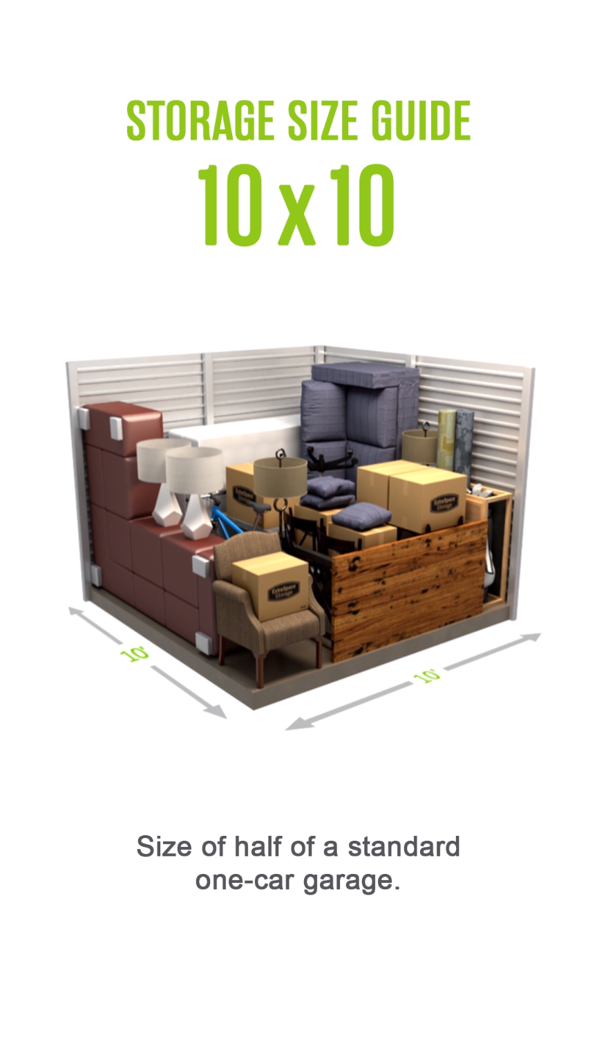 Self Storage Size Guide For A 10x10 Storage Unit Size Of Half Of A Standard One Car Garage S Video Storage Unit Design Self Storage Units Small Storage Containers