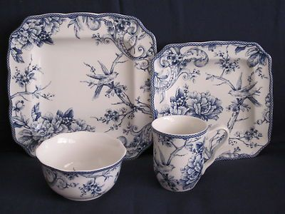 222 FIFTH \ ADELAIDE BLUE WHITE\  TOILE BIRD SQUARE DINNER PLATES SET ... & 222 fifth \