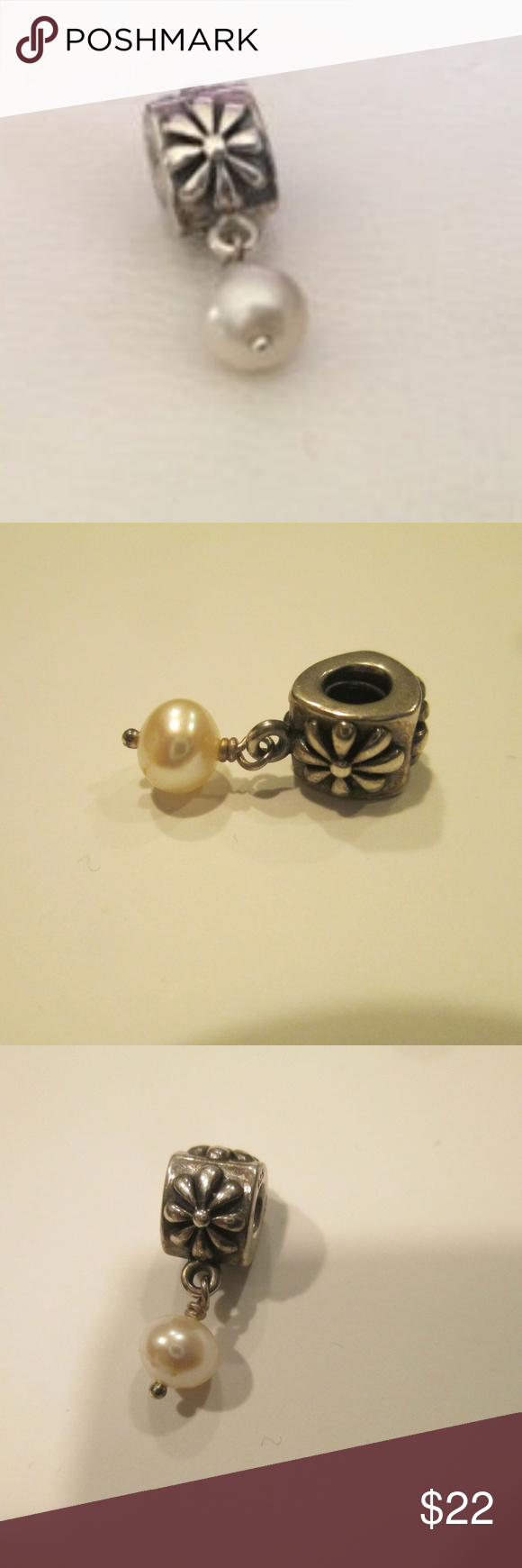 ebfd3af74 PANDORA Silver SIMPLE FLOWER Pearl Dangle Authentic PANDORA Silver SIMPLE  FLOWER Pearl Dangle Charm 790535P RETIRED 925 ALE love this dangle pandora  Jewelry ...