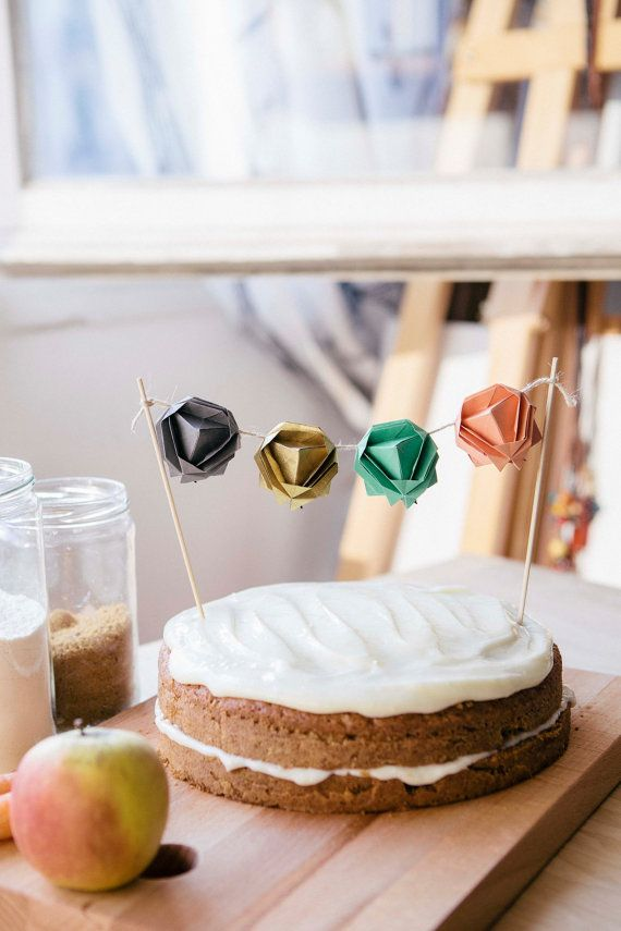 Hey I Found This Really Awesome Etsy Listing At 228849898 Origami Garland Geometric Cake Topper