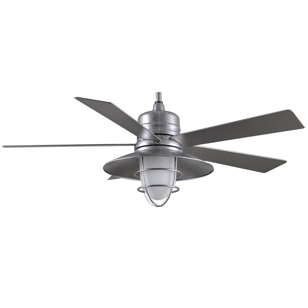 Home Decorators Collection Grayton 54 In Indoor Outdoor Galvanized Ceiling Fan With Light Kit And Remote Control 34343 The Home Depot Outdoor Ceiling Fans