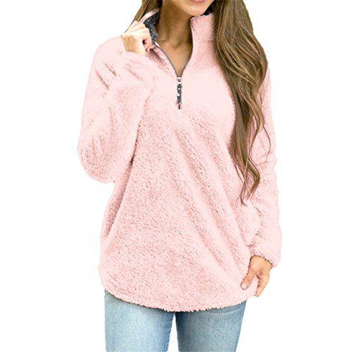 Womens Sweatshirt NEW ♥ Autumn And Winter Fashion Warm Fleece Pullover Top (S, Pink)