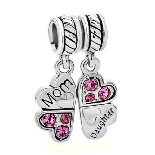 Pugster Heart Mother Son Family Dangle Spacer Bead Fits Pandora Charms Bracelet Lzc8WY
