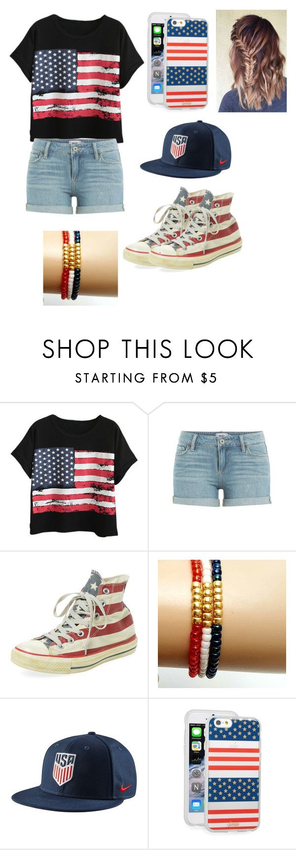 """""""Normal Team USA Spirit"""" by supsyd24 ❤ liked on Polyvore featuring Chicnova Fashion, Paige Denim, Converse, NIKE, Sonix, awesome, soccer, Olympics and summer2016"""