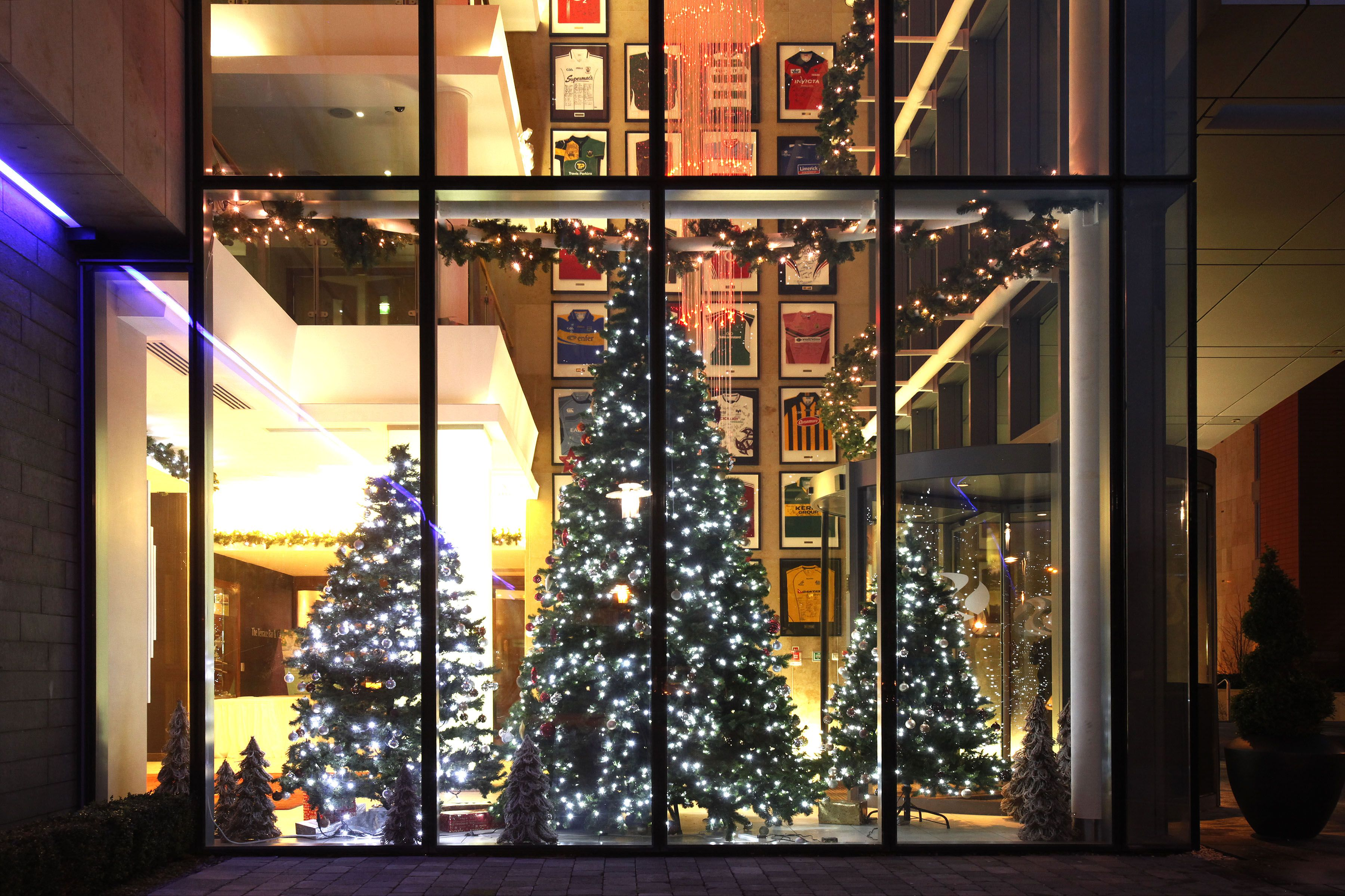 Twinkling Christmas Lights at hotel entrance
