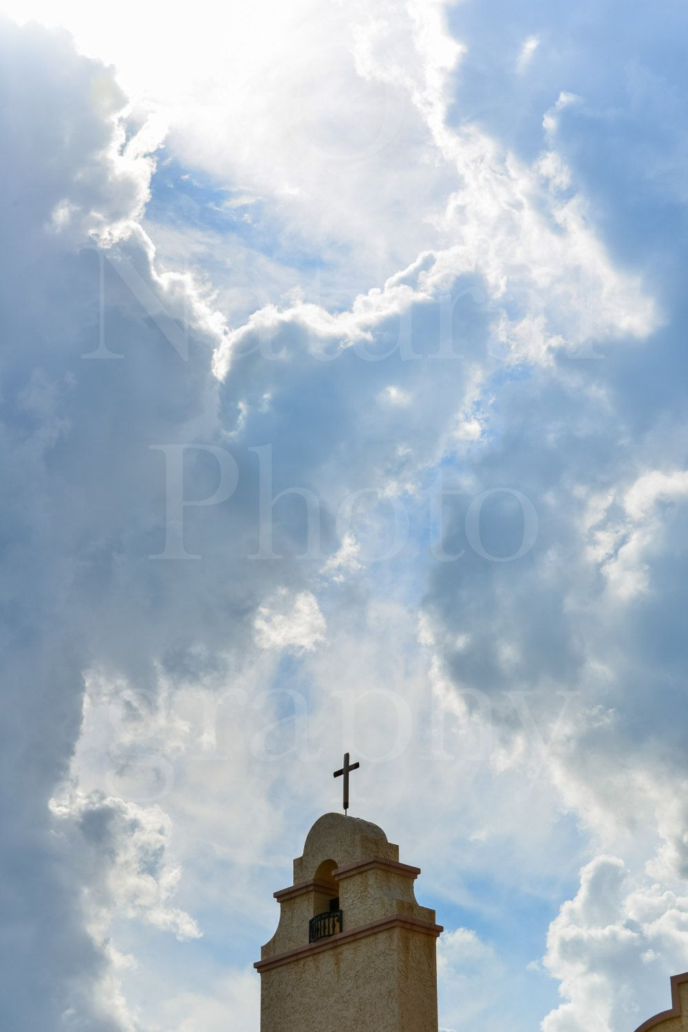 #Clouds Open for #Cross on Spanish Style Church Photography #Sunshine Print 4x6 5,  View more on the LINK: 	http://www.zeppy.io/product/gb/3/186604360/