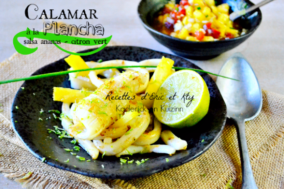 Recette calamar plancha calamar grill plancha eno salsa chez kaderick en kuizinn cuisine - Recette calamar grille barbecue ...