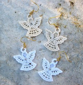 CHRISTMAS ANGEL EARRINGS, Lightweight, Swarovski Crystal Accent, Pierced Ears, Gold/Silver Wires, Si