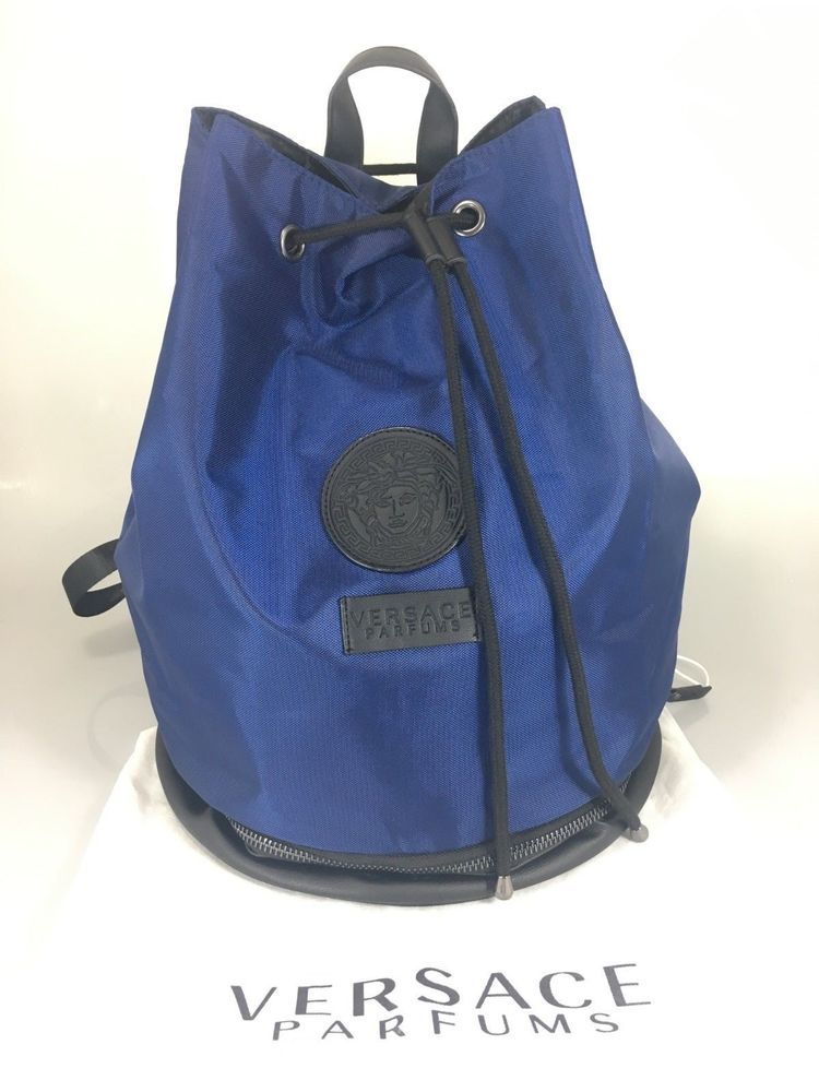 c5fadfcd941c Versace Parfums Mens Blue Black Drawstring Backpack Bucket Bag w Dust Bag  NEW | eBay