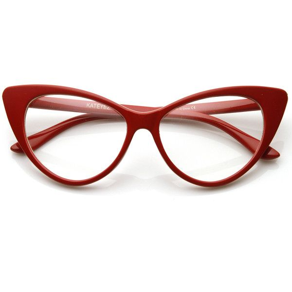 1950s vintage mod fashion cat eye clear lens glasses 8435 999 liked on