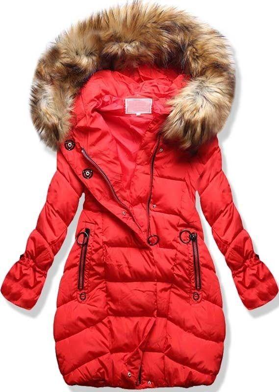 Dámska zimná bunda s kapucňou W592 červená 66f5591594b