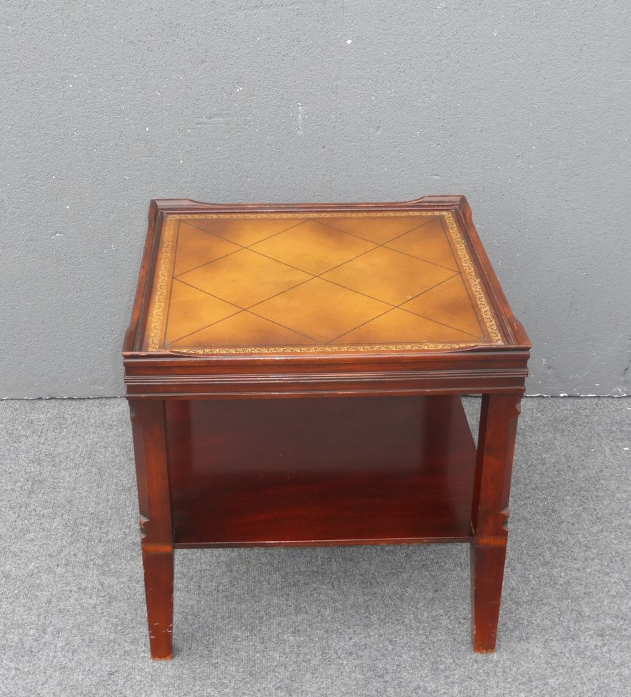 Vintage Mid Century Stickley End Table Faux Leather Top Gold Trim