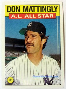 1986 Topps Don Mattingly All Star Baseball Card Don Mattingly Baseball Cards Old Baseball Cards