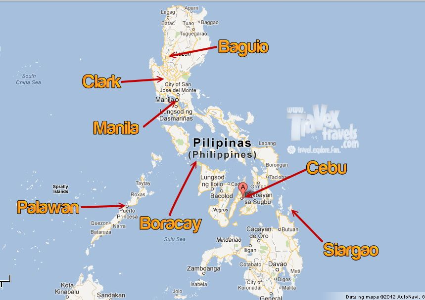 Philippine Map With Key Tourist Spot Islands Philippines - Map of the philippines cities