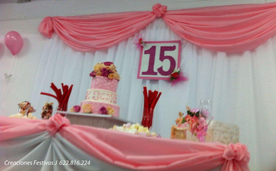 Decoraci n 15 a os en rosado decoraci n con globos y for Decoracion en telas y globos para 15 anos