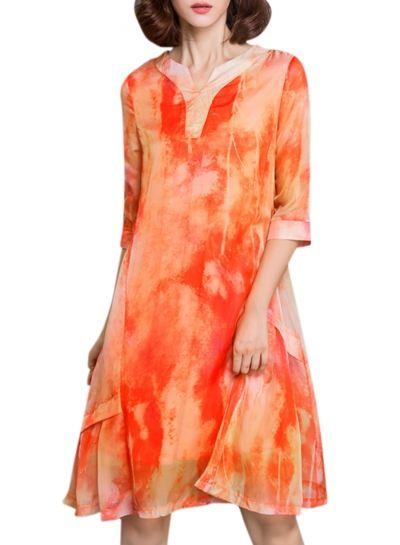 Women's Casual 3/4 Sleeve Print A-Line Loose Dress OASAP.com