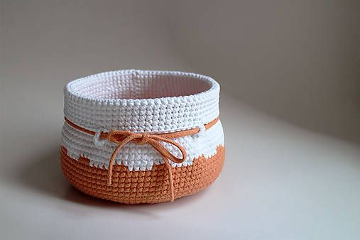 Košíky - Košík - Oranžový biely - 7232009_