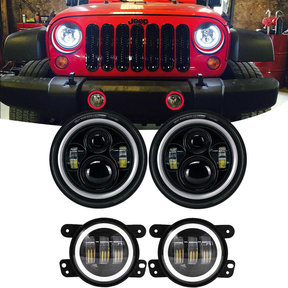 Ad Ebay Led Halo Headlights Fog Light Combo Kit For Jeep Wrangler