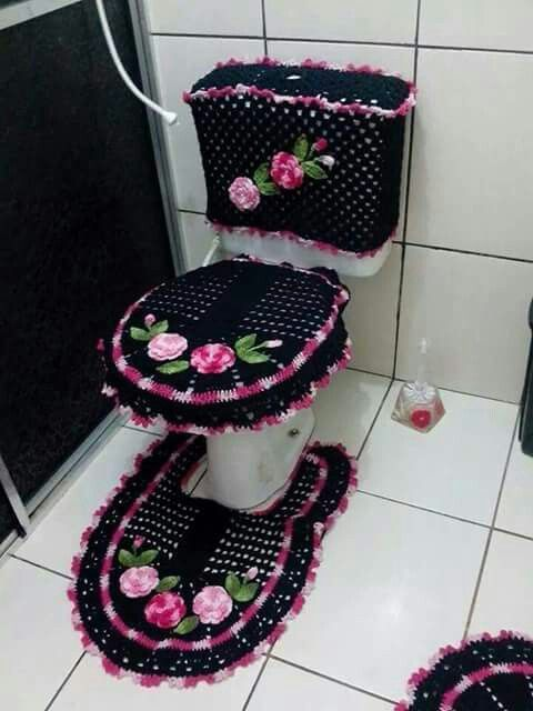 Crocheted Bathroom Set Crochet For Home Bathroom