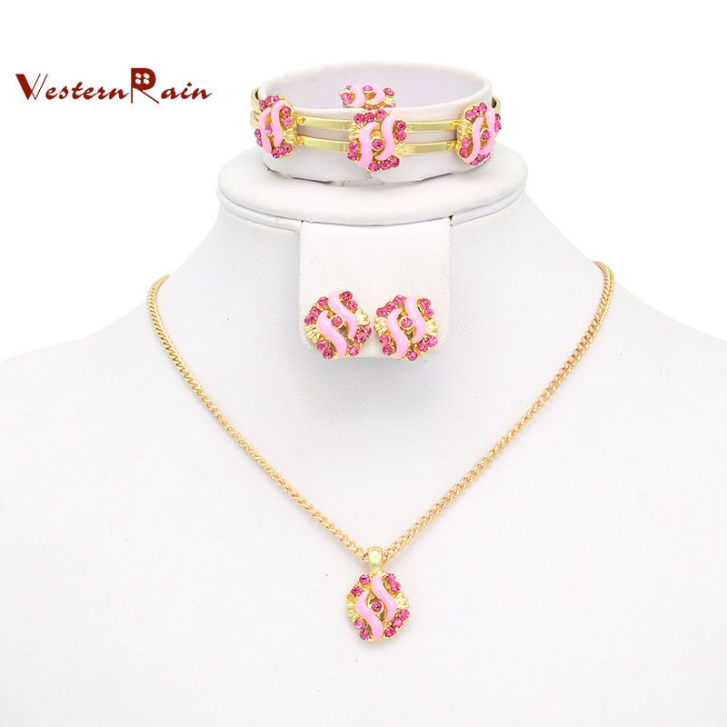 Best Gift for Your Girl /Gold plated Pink & Blue Stone Necklace ...