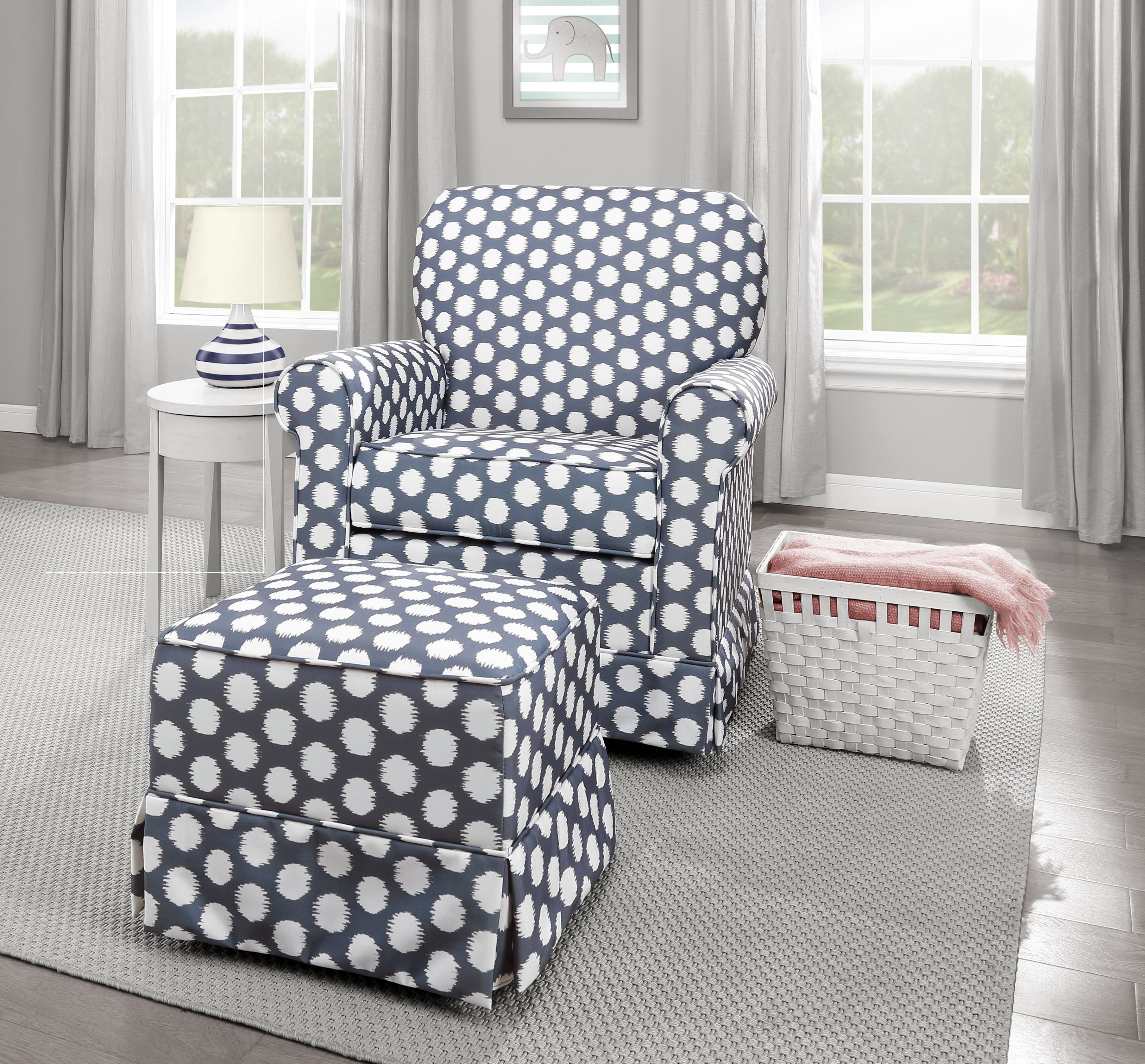 Enhance your nursery with the #Storkcraft Polka Dot Upholstered Swivel Glider and matching Ottoman #rest #relax #glide #lifestyle #gray
