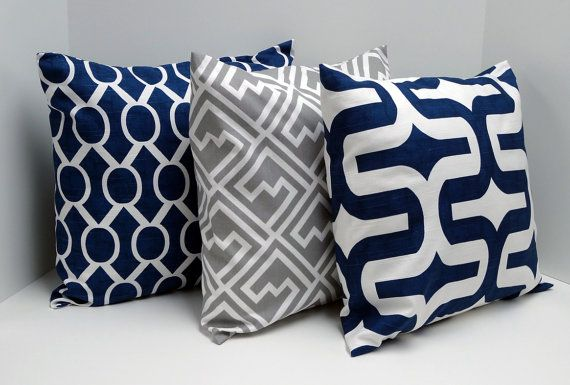 Navy Blue And Gray Pillow Covers 18x18 Inch Throw Pillows Decorative Via Etsy