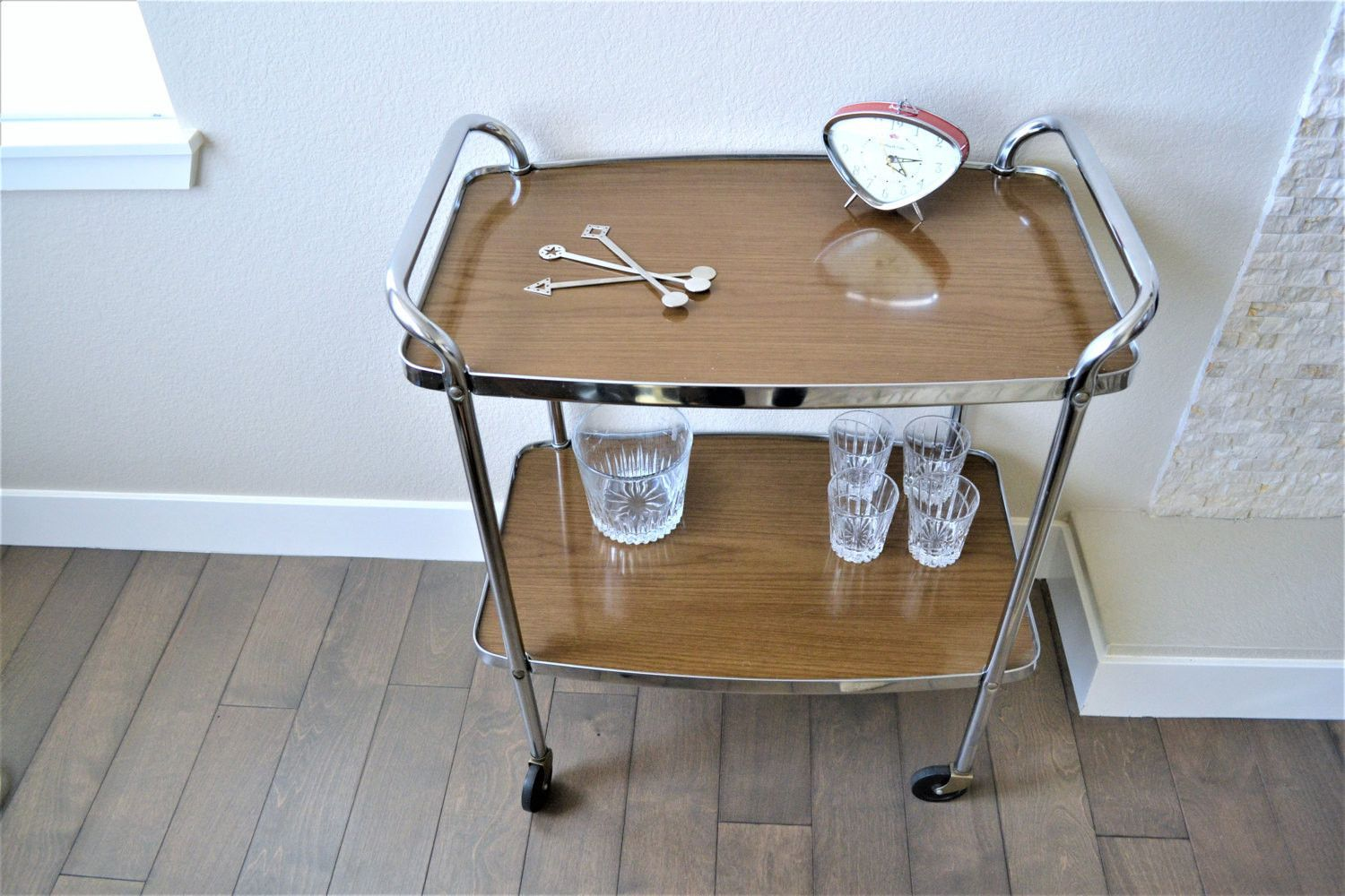 Vintage Formica Top Costco Rolling Cart | Mid Century Modern Chrome ...