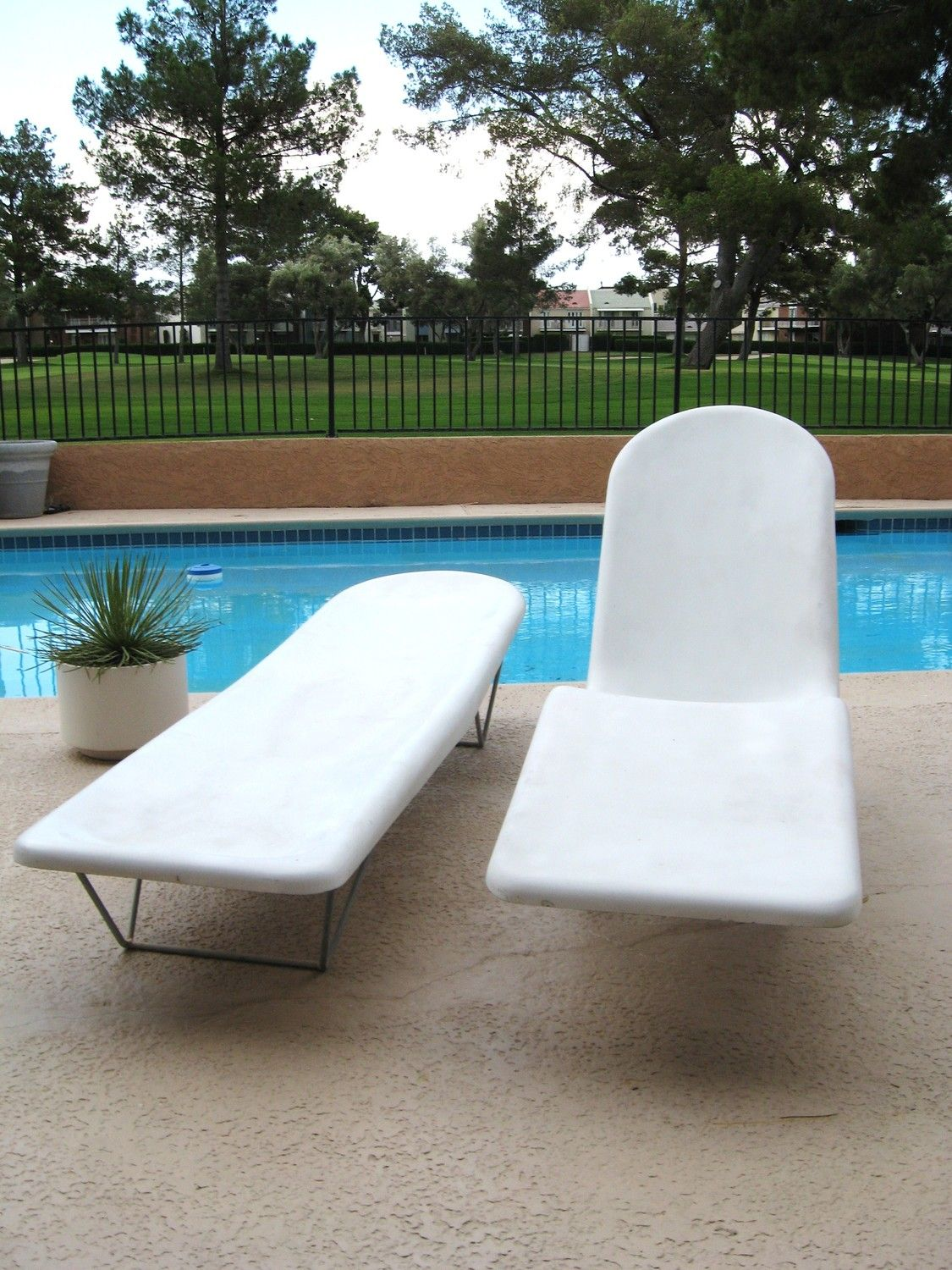 Pool Deck Chairs 60s Mid Century Modern Pair Molded Fiberglass Pool Lounge Chairs