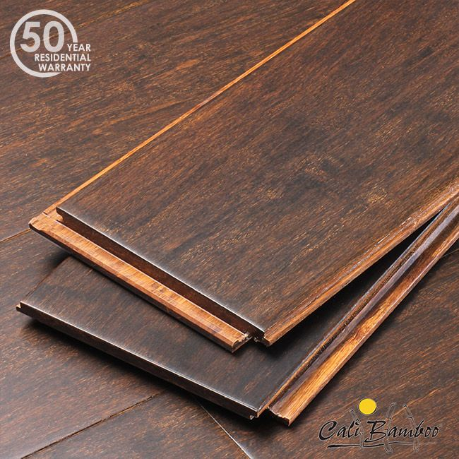 Coffee Fossilized® Strand Wide Plank Bamboo Flooring no