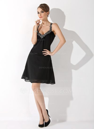 cd22eefb2b2be6 A-Line/Princess V-neck Knee-Length Chiffon Cocktail Dress With Ruffle  Beading Sequins (016008898)