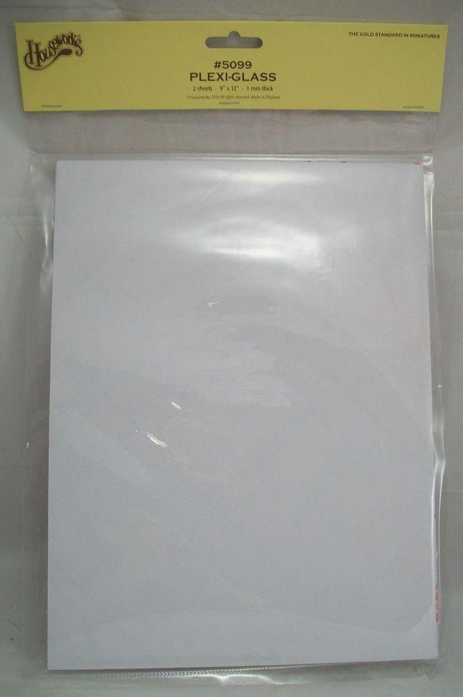 "Plexi-Glass 2 sheets 9/"" x 12/"" plastic for dollhouse windows Houseworks 5099"
