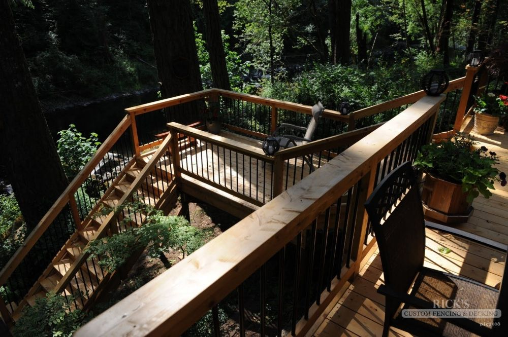 Two Story Cedar Deck In The Yard Cedar Deck Port Orford Cedar Custom Decks